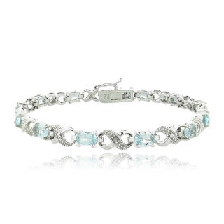 Link to Glitzy Rocks Silvertone Gemstone and Diamond Infinity Link Bracelet Similar Items in Bracelets