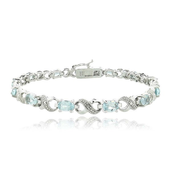 Glitzy Rocks Silvertone Gemstone and Diamond Infinity Link Bracelet. Opens flyout.