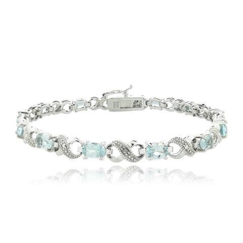Glitzy Rocks Silvertone Gemstone and Diamond Infinity Link Bracelet