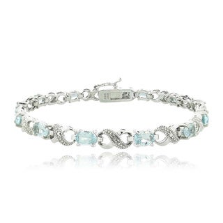 Glitzy Rocks Silvertone Gemstone and Diamond Infinity Bracelet