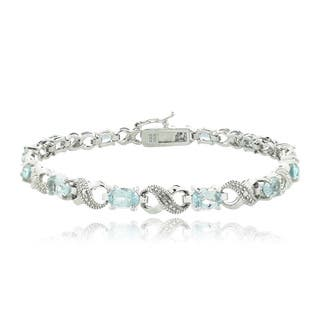 Glitzy Rocks Silvertone Gemstone and Diamond Infinity Link Bracelet|https://ak1.ostkcdn.com/images/products/6856932/P14381725.jpg?impolicy=medium