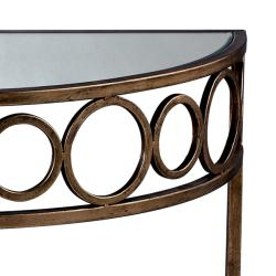 Anitque Gold Leaf Finish Mirrored Top Accent Table - Thumbnail 1