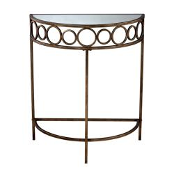 Anitque Gold Leaf Finish Mirrored Top Accent Table
