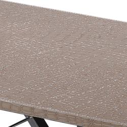 Cream Crocodile Pattern Rectangular Accent Table - Thumbnail 2