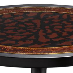 Hand Painted Ebony/ Brown Round Accent Table - Thumbnail 1