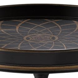 Hand-Painted Black Finish Round Wooden Accent Table - Thumbnail 1