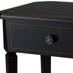 Hand Painted Black Finish Rectangular Accent Table - Thumbnail 2
