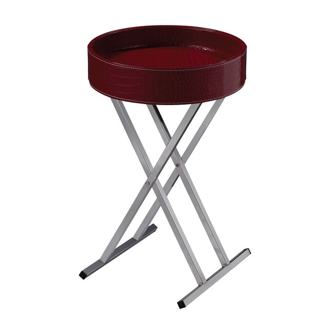 Red Crocodile Pattern Round Tray Table