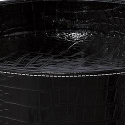 Black Crocodile Pattern Round Tray Table - Thumbnail 1