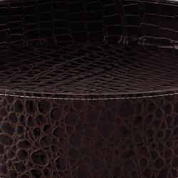 Brown Crocodile Pattern Round Tray Table