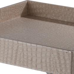 Cream Crocodile Pattern Square Tray Table