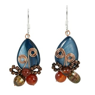 Enamored Radiant Butterfly MOP and Pearl Earrings (Thailand)
