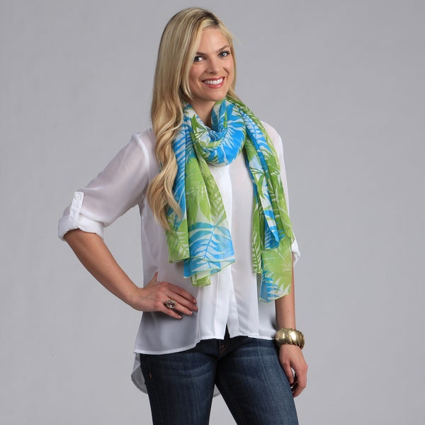 Island Style Turquoise and Lime Leaf Print Scarf