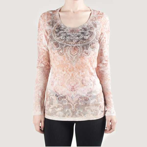 Tabeez Women's Burn Out Tranquliity Top with Rhinestones