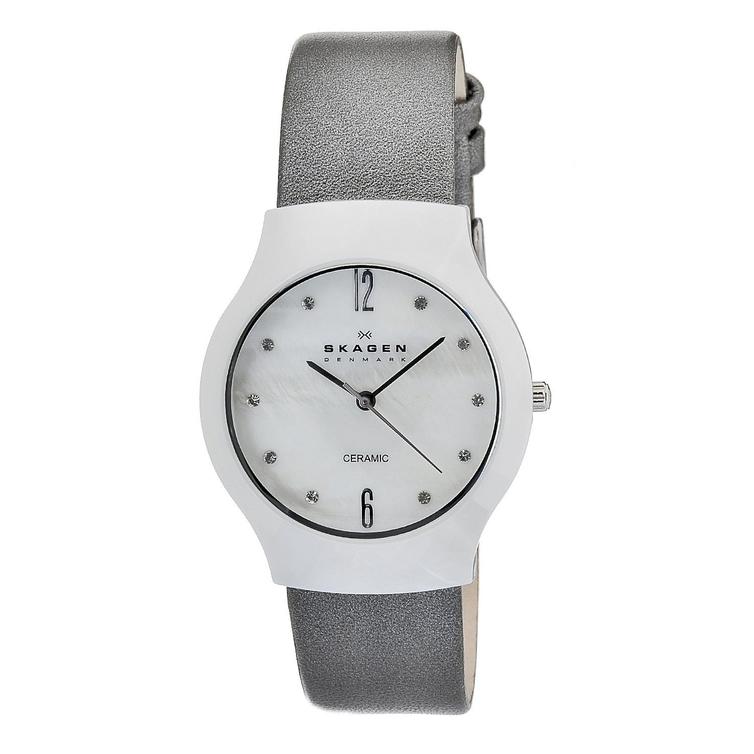 ef0631856 Shop Skagen Women's Ceramic White Dial Silver Leather Strap Watch - Free  Shipping Today - Overstock - 6857095