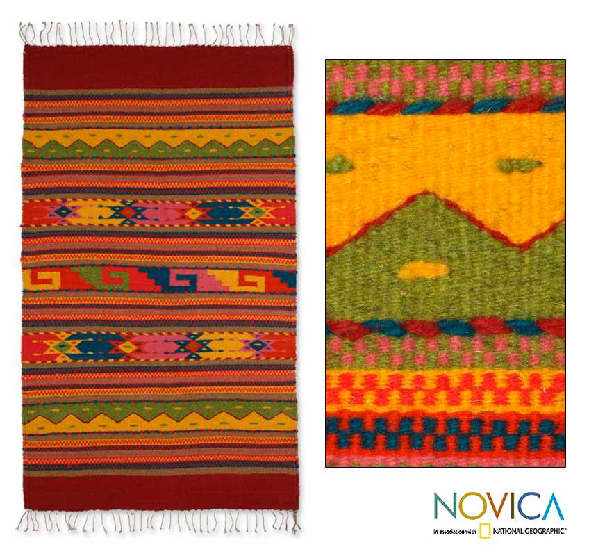 Wool 'Fiesta in Mitla' Zapotec Rug (3.5 feet x 2 feet) (Mexico)