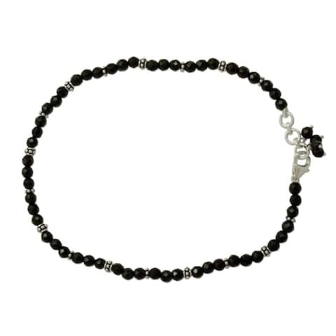 Handmade Onyx anklet Midnight Grace (India) - Black