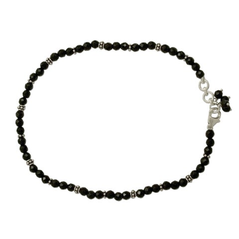Handmade Midnight Grace Polished Black Onyx Beads with 925 Sterling Silver Rondelles Lobster Catch Womens Anklet (India)