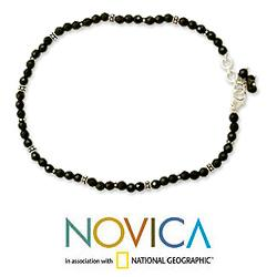 Midnight Grace Polished Black Onyx Beads with 925 Sterling Silver Rondelles Lobster Catch Bohemian Hippie Womens Anklet (India)