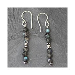 Sterling Silver 'Pillars of Intuition' Labradorite Earrings (India)