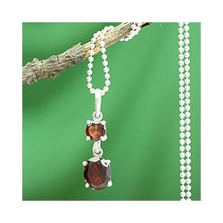 Sterling Silver 'Love Duet' Garnet Necklace (India)