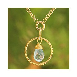 Gold Overlay 'Thai Delight' Blue Topaz Necklace (Thailand)