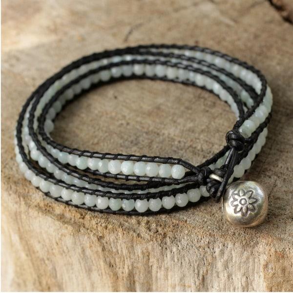 Handmade Silver 'Love's Innocence' Amazonite Leather Bracelet (Thailand)