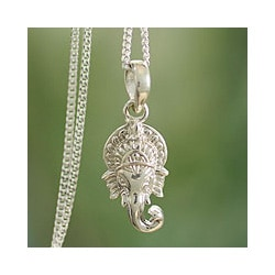 Sterling Silver 'Regal Ganesha' Necklace (India)