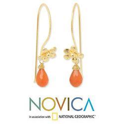 Handmade Gold Overlay 'Frangipani Splendor' Carnelian Earrings (Thailand)