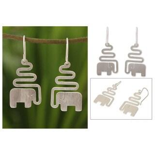 Handmade Sterling Silver 'Trumpeting Elephant' Dangle Earrings (Thailand)