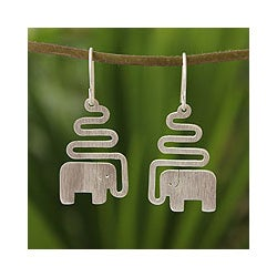 Sterling Silver 'Trumpeting Elephant' Dangle Earrings (Thailand)