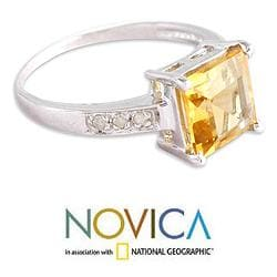 Sterling Silver 'Sunny Sparkle' Diamond Accent Citrine Ring (India) - Thumbnail 1