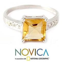 Sterling Silver 'Sunny Sparkle' Diamond Accent Citrine Ring (India) - Thumbnail 2