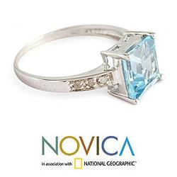 Sterling Silver 'Blue Sparkle' Diamond Accent Blue Topaz Ring (India) - Thumbnail 1
