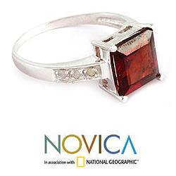 Handmade Sterling Silver 'Scarlet Sparkle' Diamond Accent Garnet Ring (India)