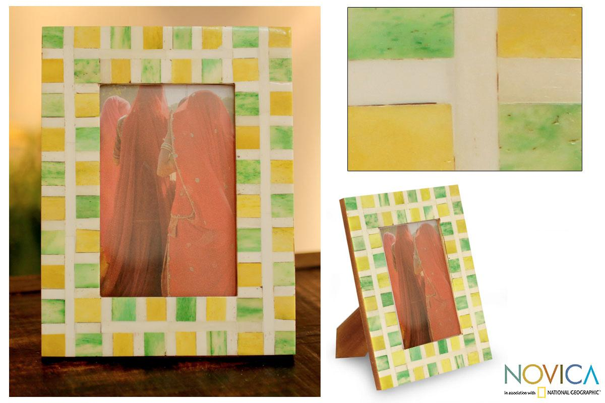 Handcrafted Bone 'Summer Sunshine'  Photo Frame  , Handmade in India - Thumbnail 0