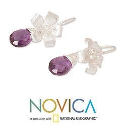 Sterling Silver 'Lily Splendor' Amethyst Flower Earrings (Thailand) - Thumbnail 2