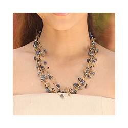 Silver 'Afternoon Blue' Lapis Lazuli Agate Necklace (Thailand)