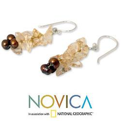 Silver 'Afternoon Light' Pearl Citrine Earrings (4-4.5 mm) (Thailand)