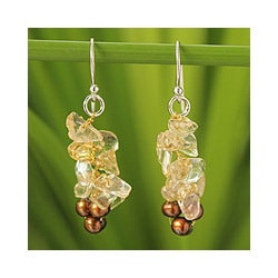 Handmade Silver 'Afternoon Light' Pearl Citrine Earrings (4-4.5 mm) (Thailand)