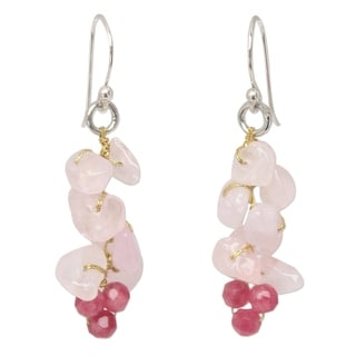 Link to Handmade Sterling Silver 'Afternoon Pink' Rose Quartz Earrings (Thailand) Similar Items in Earrings