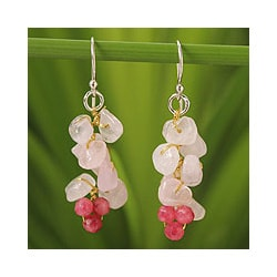 Handmade Sterling Silver 'Afternoon Pink' Rose Quartz Earrings (Thailand)