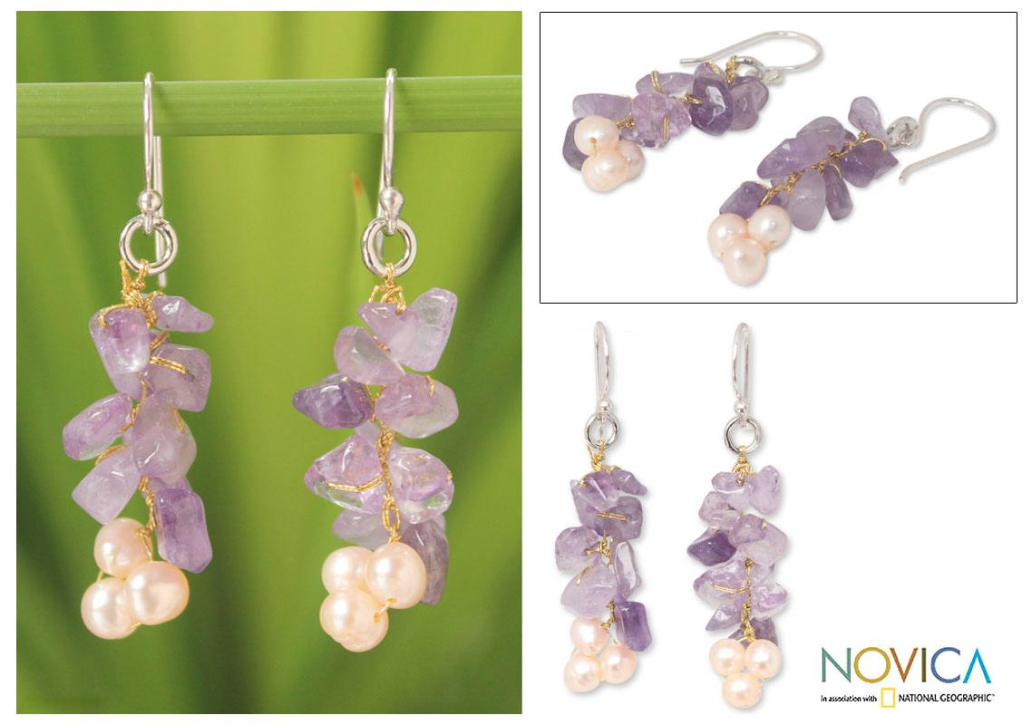 Handmade Silver 'Afternoon Lilac' Pearl Amethyst Earrings (4-4.5 mm) (Thailand)