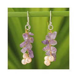 Silver 'Afternoon Lilac' Pearl Amethyst Earrings (4-4.5 mm) (Thailand)