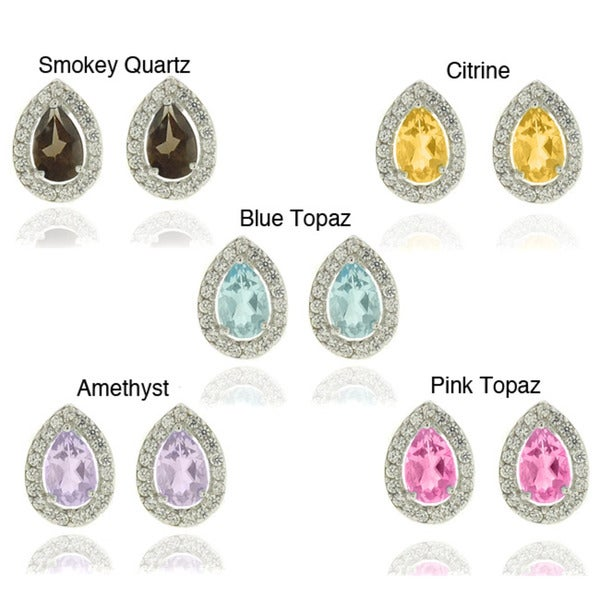 Dolce Giavonna Silverplated Gemstone and Cubic Zirconia Teardrop Earrings