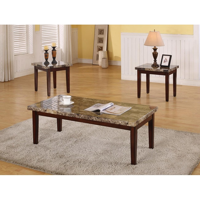 Faux Stone Coffee Table: Shop Dark Faux Marble 3-piece Coffee Table Set