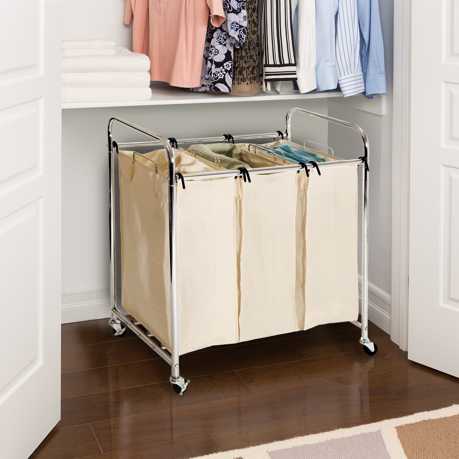 Heavy-Duty Laundry Hamper Sorter 3-Bag Organizer Wire Grid Base ...