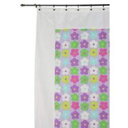 Mitered Happy Days Flower Cotton Shower Curtain - Thumbnail 1