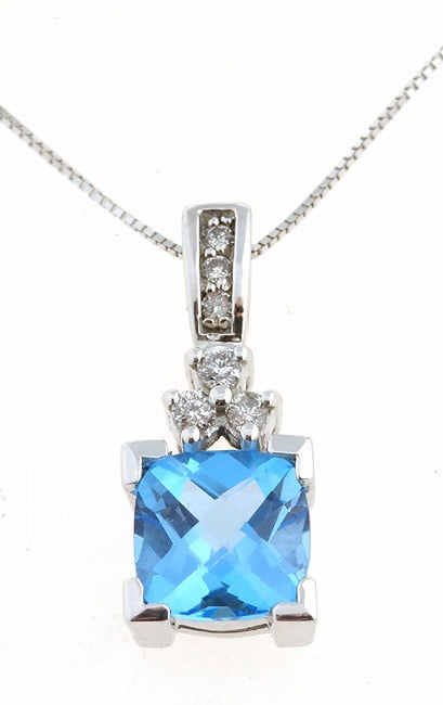 Marquee Jewels 14k White Gold Blue Topaz & 1/6ct Diamond Pendant