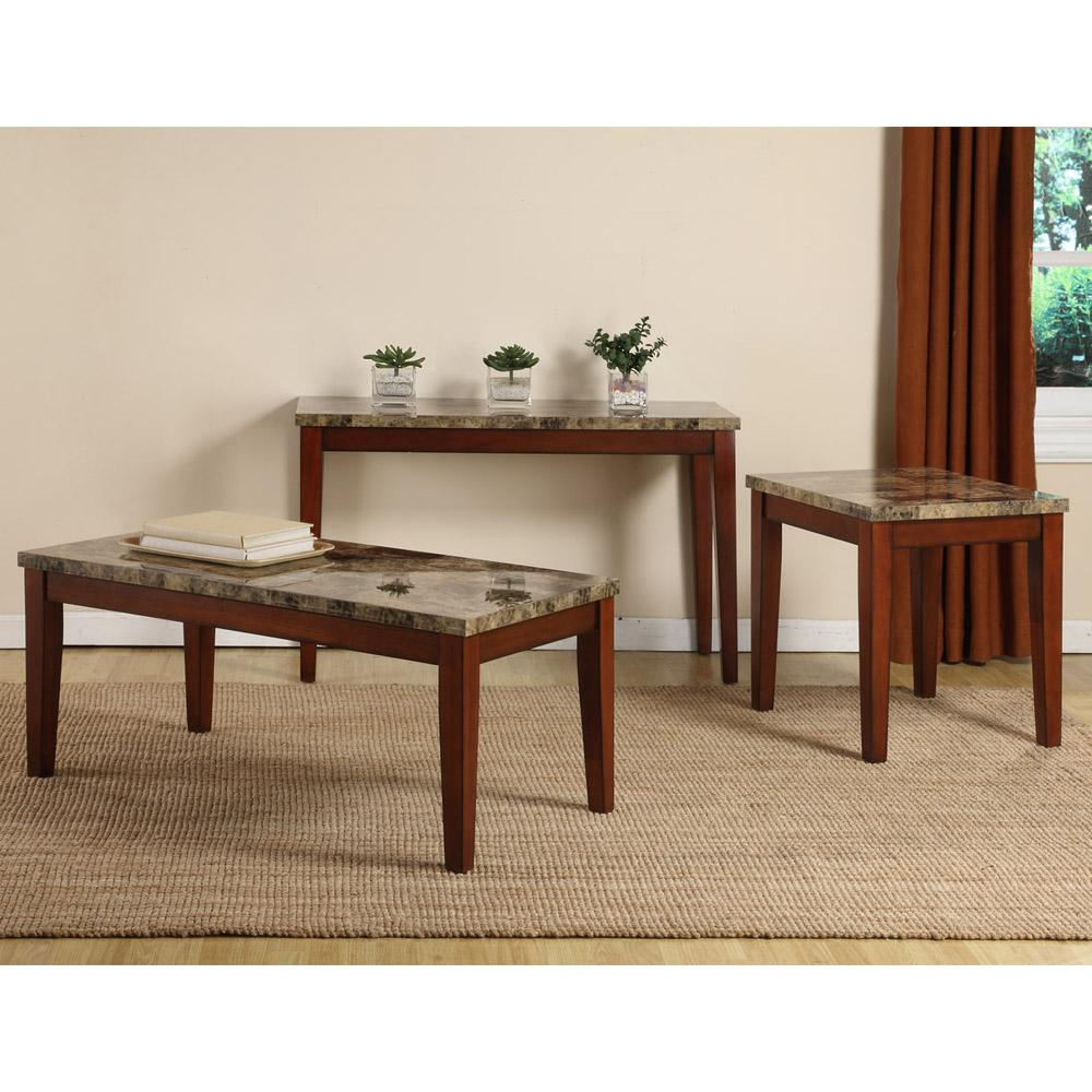 Marble Top Coffee And Side Tables: Creston Faux Marble Top Coffee, End And Sofa Table (Set Of